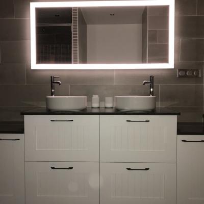 Meuble salle de bain chène laqué blanc
